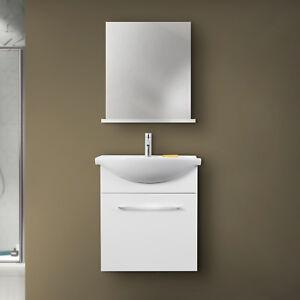 Lavello Bagno Con Mobile.Dettagli Su Mobile Bagno Sospeso Bianco Lucido Con Lavabo In Ceramica E Specchio Con Mensola