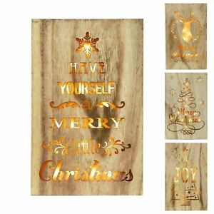 Wooden Christmas Wall Plaque Sign With Warm White Led Lights Xmas Decoration Ebay