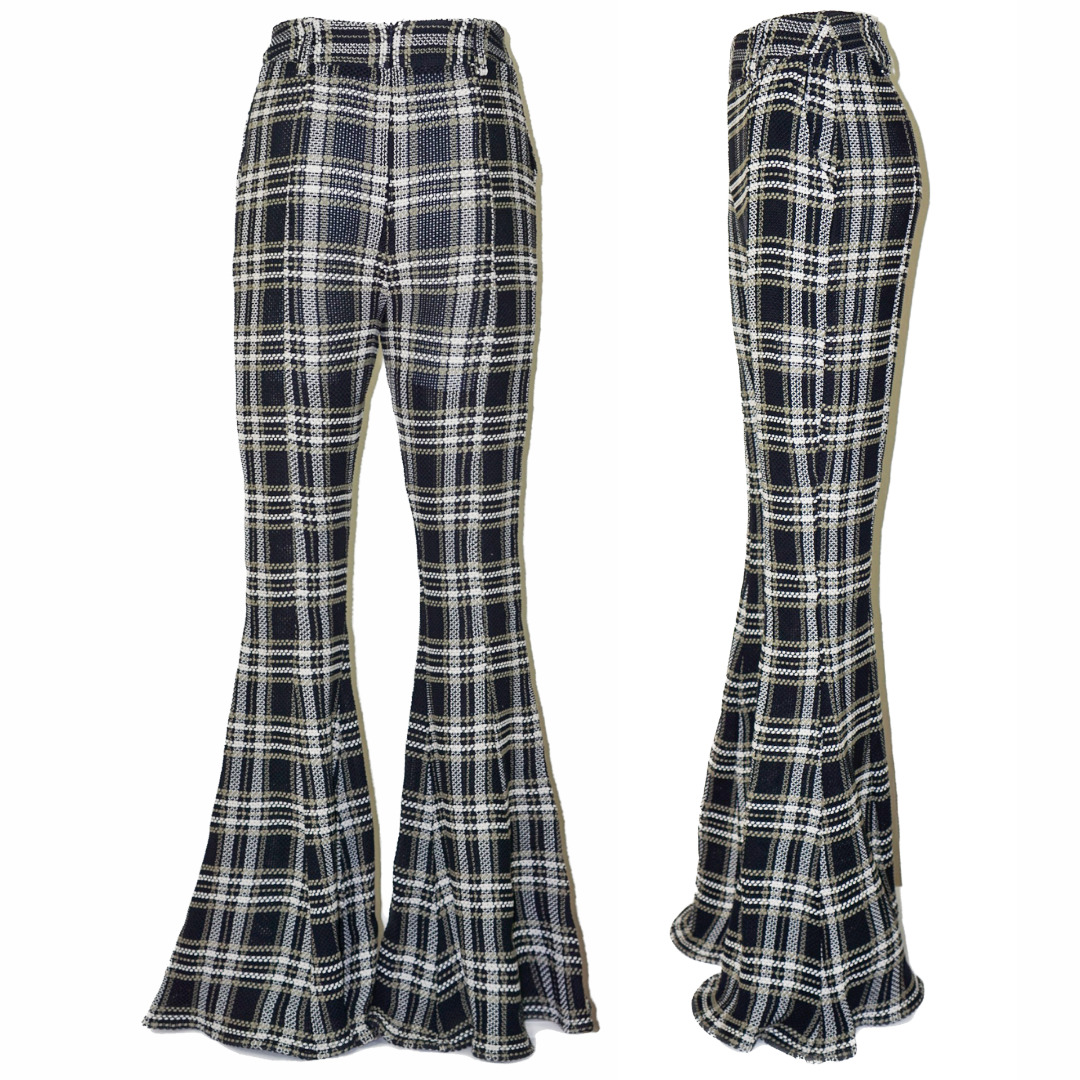 BEAUFILLE Plaid Checked Flared Tartan High Rise W… - image 2