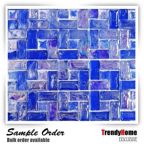 1-SF Blue iridescent Glass Mosaic Pattern Backsplash Kitchen wall bathroom sink