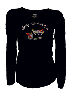 Bling Happy Valentine Day /& Drinks Cocktails Rhinestone T-Shirt Long S~4XL