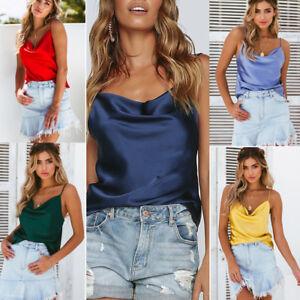 7478d779e7dffb Women s Silk Satin Camisole Cami Plain Strappy Vest Tank Tops ...