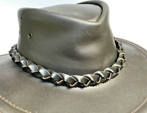 Genuine-Brown-Leather-hat-band-Plaited-with-badge-Australian-made-fits-all-hats