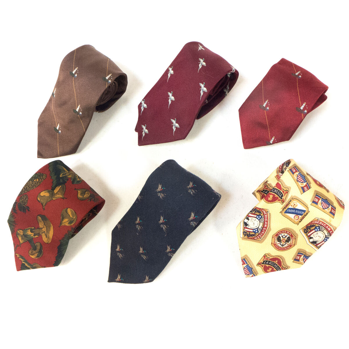 #06 Mixed Lot of 6 Vintage Men's Red, Yellow, Brown, Dark Blue Patterned Ties