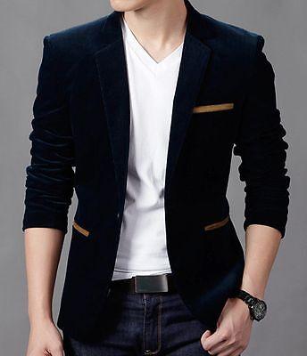 NEW! Casual Men's  One Button Velvet Suit Blazer Jacket Formal Wedding Suit Coat