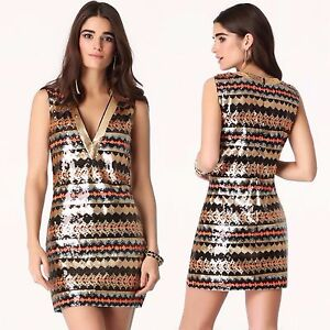 BEBE-MULTICOLORED-PLUNGE-NECK-SEQUIN-DRESS-NEW-NWT-179-SMALL-S