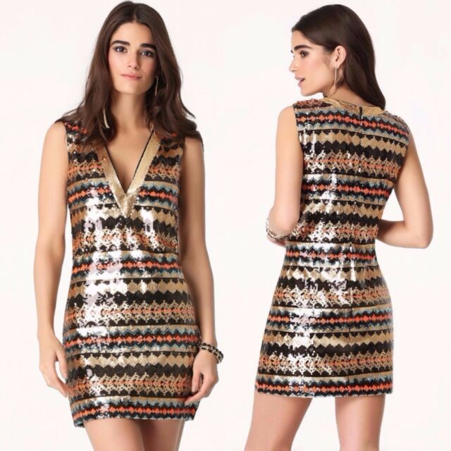 BEBE MULTICOLORED PLUNGE NECK SEQUIN DRESS NEW NWT $179 SMALL S