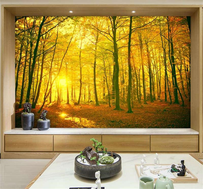 Mystical golden Forest Full Wall Mural Photo Wallpaper Print Kids Home 3D Decal