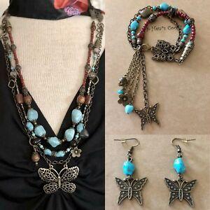 Necklace-Set-Butterfly-Turquoise-TigersEye-Quartz-Boho-Artisan-handmade-USA-1598