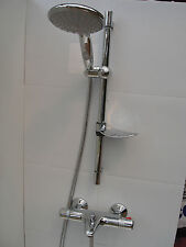 THERMOSTATIC WALL MOUNTED BATH SHOWER MIXER TAPS, LARGE HANDHELD & RAIL, 331/352