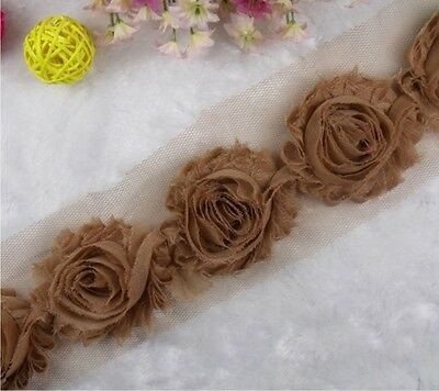1 yard  Brown Frayed Shabby Rose Chiffon Flowers for Headbands, Hair Clip Trim/