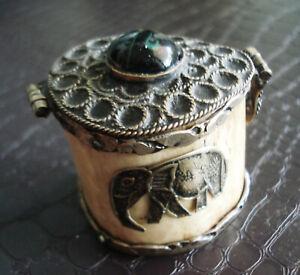 Collectibles Antique Vintage Silver Bone Small Pocket Ash Tray Elephant Engraved Ebay