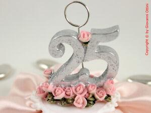 25 Matrimonio Anniversario.Cake Topper Anniversario Matrimonio 25 Anni Nozze D Argento