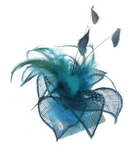 Fascinator-MIX-DI-BLUES-piume-clip-MATRIMONI-Gare-Donna-GIORNO