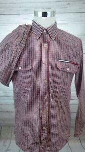 Vintage-Tommy-Hilfiger-Red-Plaid-Western-Cut-Shirt-Box-Logo-Men-039-s-Size-Large