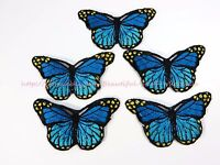 Us Seller-cheap Iron On Patches Blue 5pcs Butterfly Cloth Embroidered Patches