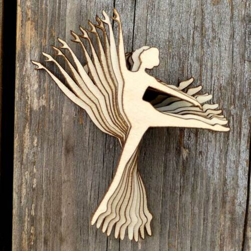10x Wooden Ballerina in Arabesque Pose Silhouette Craft Shapes 3mm Plywood