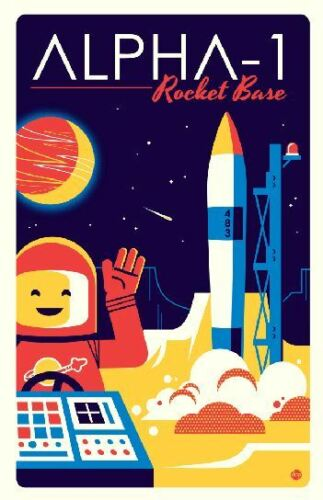Original LEGO Art Classic Space Alpha-1 Rocket Base 11x17 Poster Dave Perillo