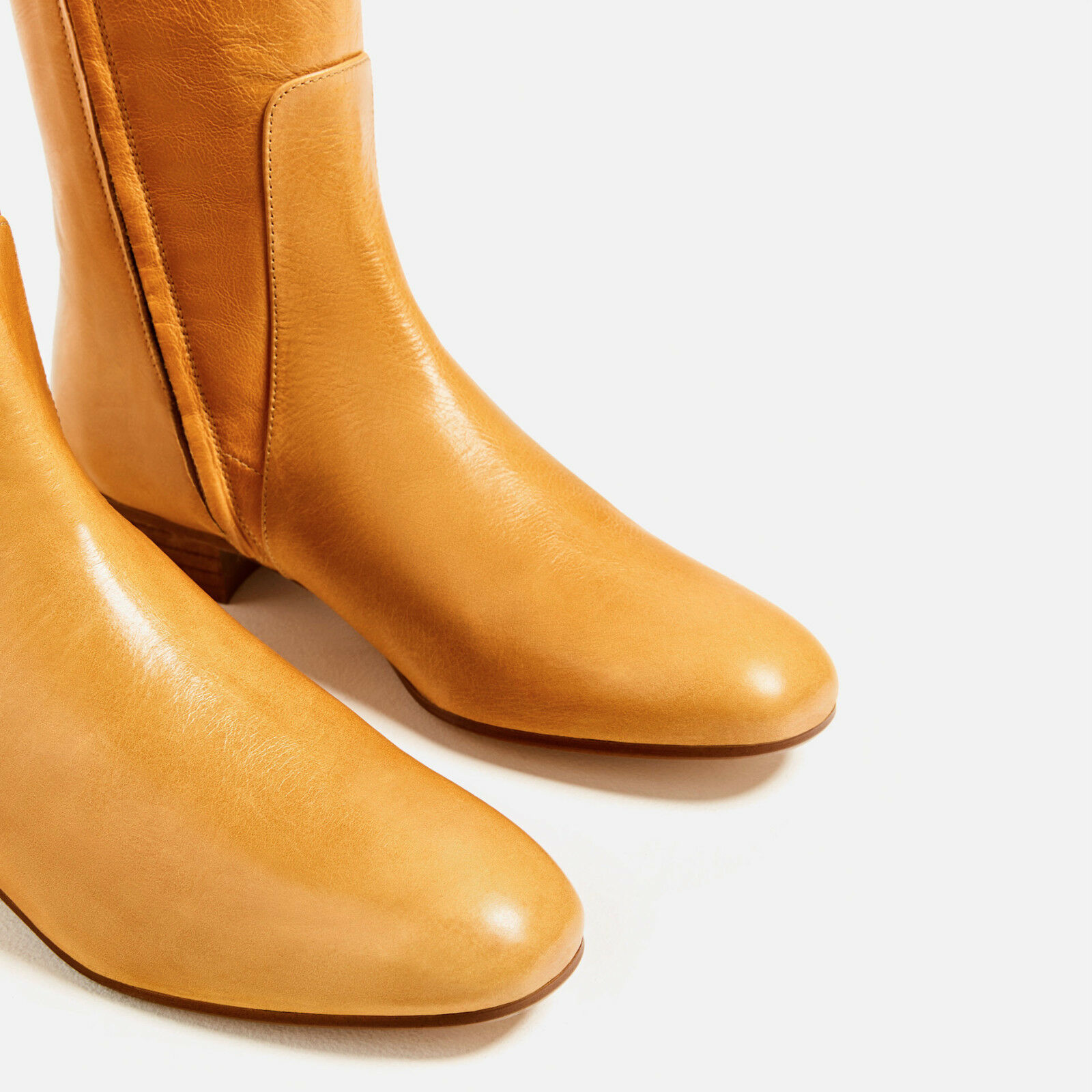 BNWT ZARA OVER-THE-KNEE FLAT LEATHER BOOTS COLLECTION 2016