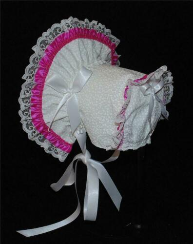 New Handmade White with Mauve Trim Baby Bonnet