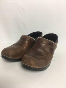 Dansko-Clog-Professional-Slip-On-Shoe-Close-Toe-Brown-Leather-Size-37-Clogs