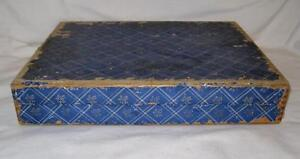 Wooden-Flatware-Chest-Blue-amp-White-Plaid-amp-Floral-Design-Vintage-Wood-O2-AS-IS