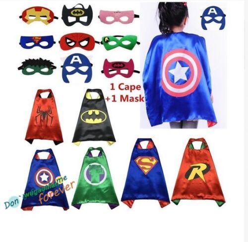 Kids Children Comic Book Hero Cape Mask Kids Fancy Dress Costume Outfit Hot UK