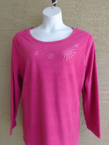 NWT JUST MY SIZE 2X  POLAR  FLEECE BEAD EMBELLISHED CREW NECK TOP BERRY PINK