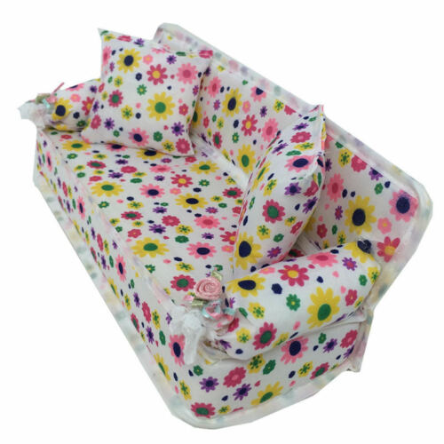 Mini Flower Sofa 2 Cushions Flower Baby Toy Doll House Accessories Furniture