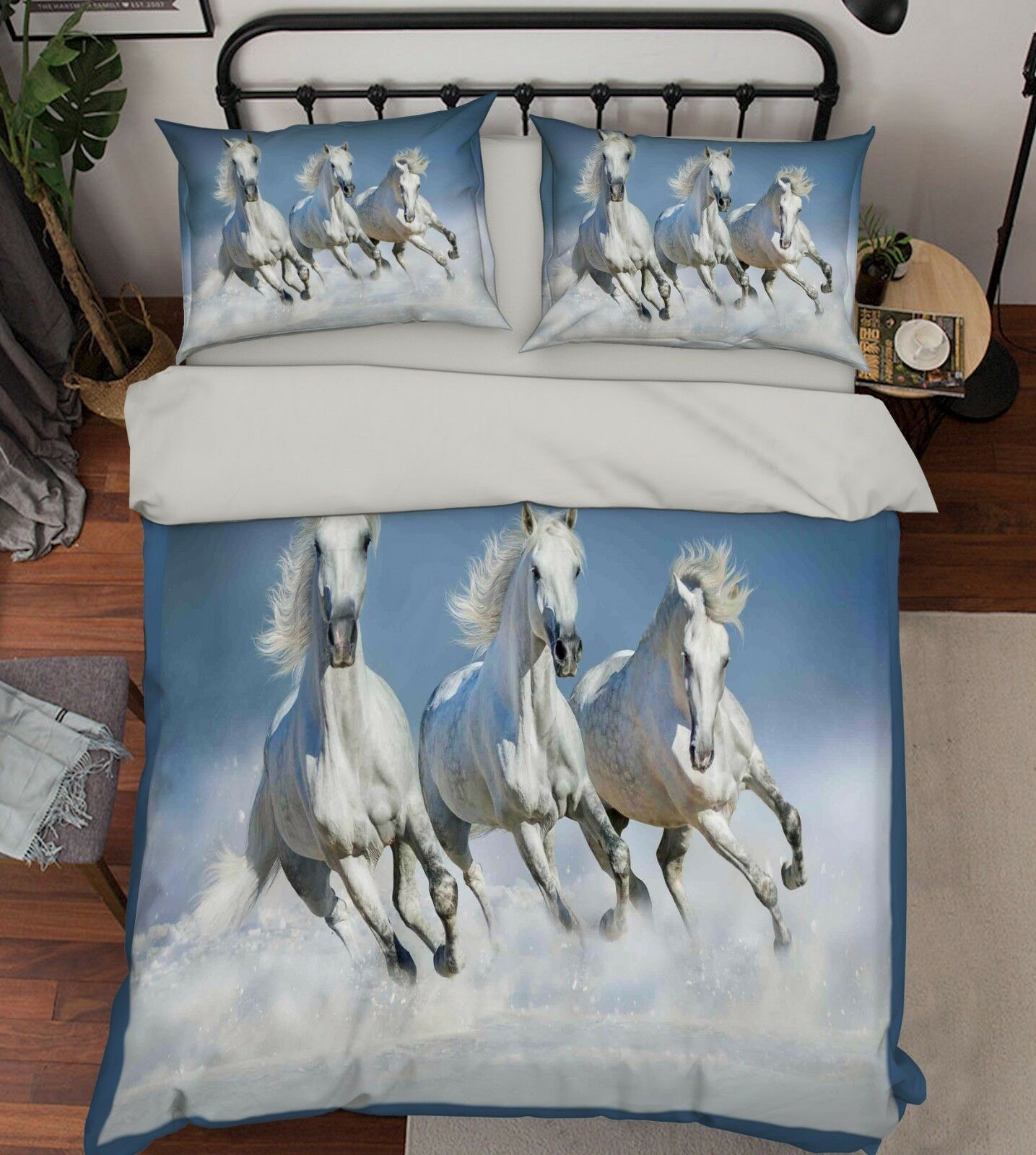 3D White Horse Sky 6 Bed Pillowcases Quilt Duvet Cover Set Single Queen AU Carly