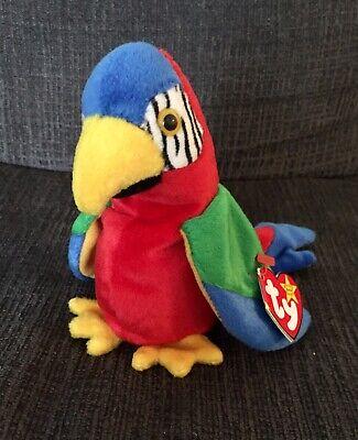 1997 Ty Sitzsack Baby Jabber The Papagei Vogel Original Sammlerstück SchnäPpchenverkauf Zum Jahresende