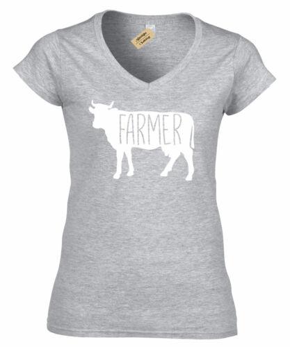 Womens Farmer Cow T-Shirt Country Animals ladies V-Neck T Shirt top
