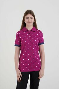 Hazy-Blue-Womens-Ladies-Lilly-Short-Sleeved-Polo-Shirt-Top-Pink