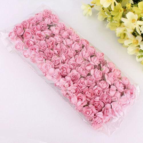 AM/_ 144pcs Paper Faux Rose Flowers Handmade DIY Card Crafts Embellishment Novelt