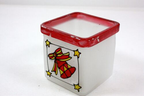 HEAVY FROSTED GLASS VOTIVE HOLDER SQUARE DESIGN RED RIM HAND PAINTED RIBBON BELL