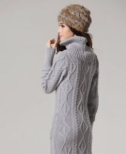 f04e5401176 New Women s Winter Warm Turtleneck Chunky Knit Blend Pullover Maxi ...