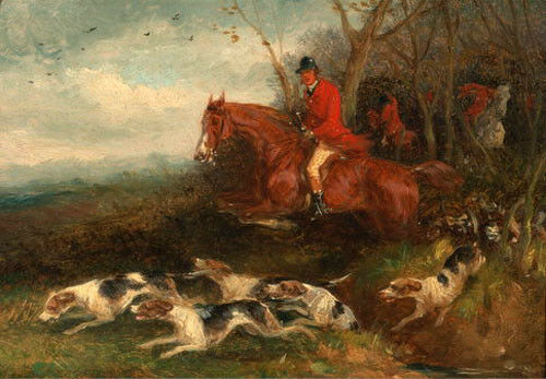 Oil painting horseman count hunter riding red horse /& Hounds dogs Hand painted