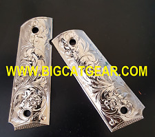1911 COLT PISTOL CUSTOM METAL GRIPS  Full Size Government Nickel finish Plated