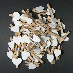 White-Heart-Mini-Wooden-Clips-Pegs-Clothespin-Wedding-Decor-Craft-YXT8043x30