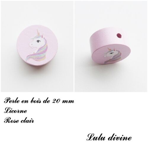 Perle plate Licorne Rose clair Perle en bois de 20 mm