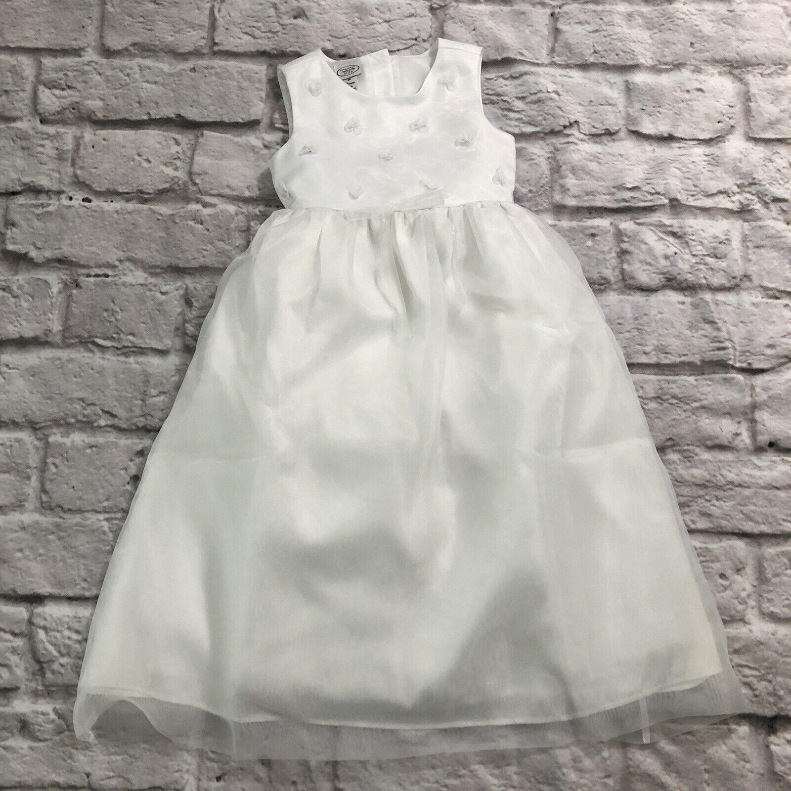 Talbots Kids Flower Girl Dress White Tulle Size 6X
