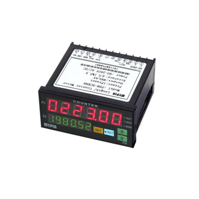 FH8-6CRNB Digital LED Panel Length Counter Meter Alarm Relay Output 90~260V V9P6