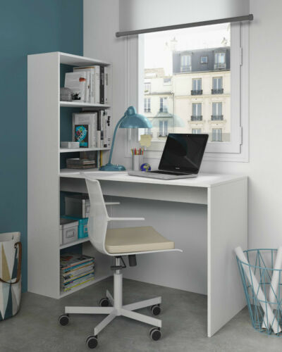 Duplex Matt White Computer Desk Workstation Table with Bookcase furniture 08341