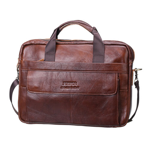 Men Vintage Genuine Leather Handbag Business Briefcase Messenger Shoulder Bag