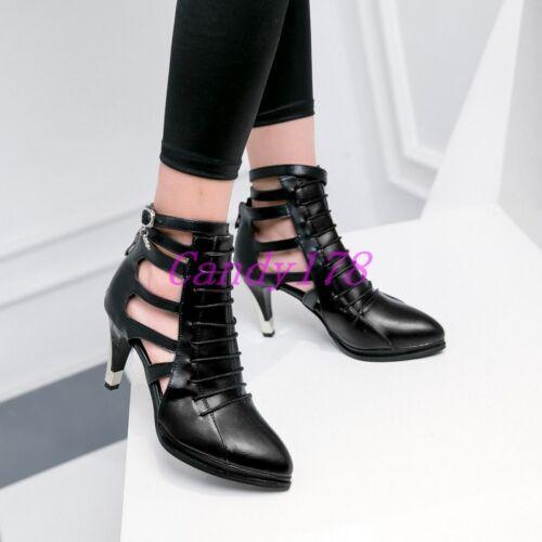 Punk Femme compensés à bout pointu Hollow Out Zip Bottines Sandale Talon Haut Chaussures 4-15 US