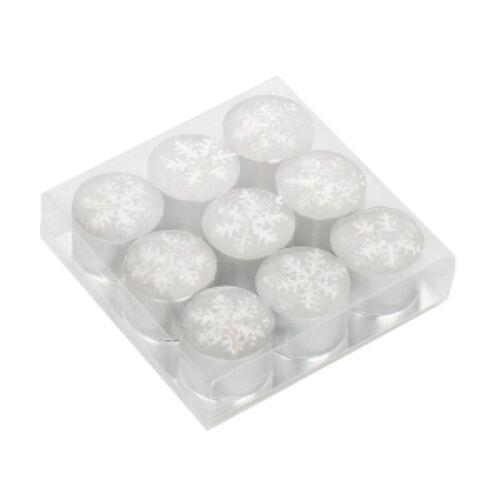 Ensemble de 9 Deep Tea Lights Décoré avec Argent Flocons de neige fete Photophore