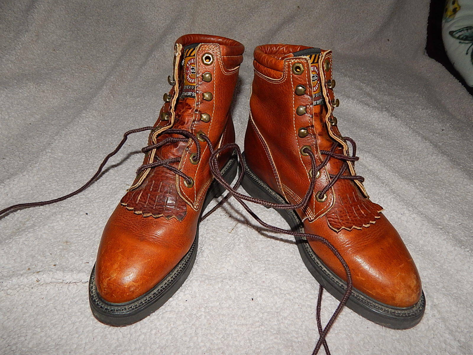 JUSTIN Work Boots Women's 6.5 C Wid Lace-Up Western Roper Excellent USA