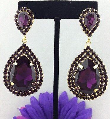 Elegant Pageant Queen with Purple Swarovski Crystals Teardrop Earrings Gold Tone