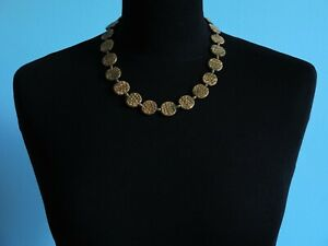 Vintage-Czech-Bohemian-Gold-Tone-Molded-Coin-Glass-Bead-Necklace