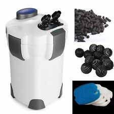 3-Stage External Canister Filter 265 GPH Fresh/Salt 100 GAL Aquarium FREE MEDIA